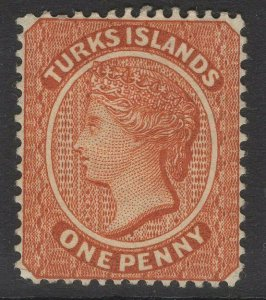 TURKS ISLANDS SG55 1883 1d ORANGE-BROWN MTD MINT