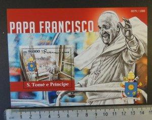 St Thomas 2015 pope francis religion s/sheet mnh