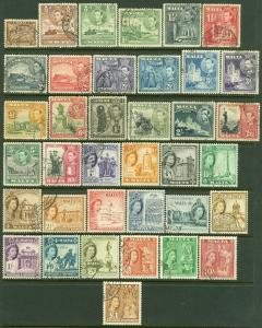 EDW1949SELL : MALTA 1939-57 Sc #191-205, 246-62 VF, Used Both Cplt sets Cat $102