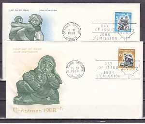Canada, Scott cat. 488-489. Christmas issue. 2 First day covers. ^