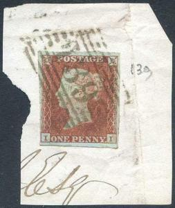 1841 Penny Red (II) Falkirk 139 Numeral in a Blackish Green Colour
