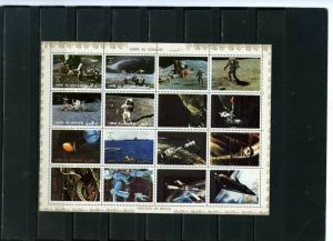 UMM AL QIWAIN 1972 HISTORY OF SPACE SHEET OF 8 STAMPS & 8 LABELS MNH