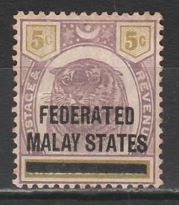 FEDERATED MALAY STATES 1900 OVERPRINTED TIGER NEGRI SEMBILAN 5C
