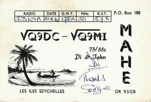 7293 Amateur Radio QSL Card  MAHE SEYCHELLES