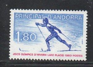 Andora (Fr) Sc 276 1980 Winter Olympics Lake Placid stamp mint NH