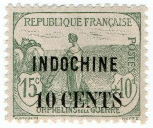 (I.B) France Colonial Postal : Indo-China 10c on 15c OP (War Orphans)