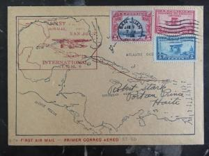 1929 Puerto Rico Usa FFC First Flight Cover FAM 6 PAA To Haiti Map Cachet