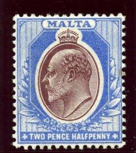 Malta 1904 KEVII 2½d maroon & blue MLH. SG 52. Sc 35.