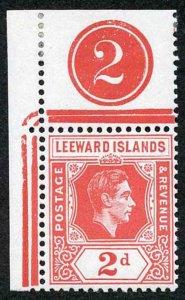 Leeward Is SG104 2d scarlet Plate Number example U/M (mounted in margin)