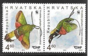 2012    CROATIA  -  SG.  1122 / 1125  -  HAWK MOTH  - STRIP OF 4  -  MNH