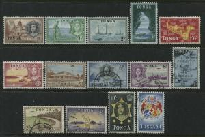 Tonga 1953 set 1d to 5d mint o.g., 6d to £1 used