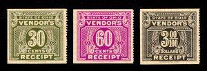 STATE OF OHIO SET OF 3 VENDOR RECEIPT TAX 30¢ 60¢ $3.00 REVENUE STAMPS MNH-OG