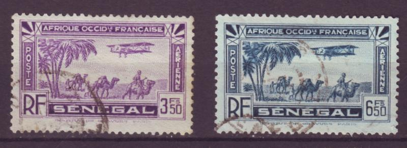 J12618 JLstamps 1935 french senegal used, #c7,c9 airplanes airmails