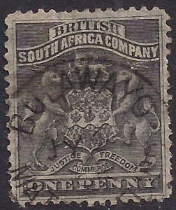British South Africa Company 1892 - 93 QV 1d Black used SG 1 ( A103 )