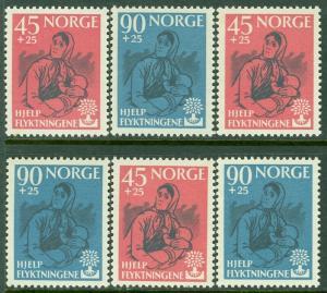 EDW1949SELL : NORWAY Scott #B64-65 World Refugee Year 3 Cplt sets VF MNH Cat $67
