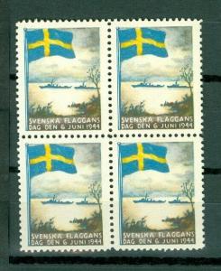 Sweden Poster Stamp Mnh.1944.4-Block National Day June 6.Swedish Flag.Navy Ships