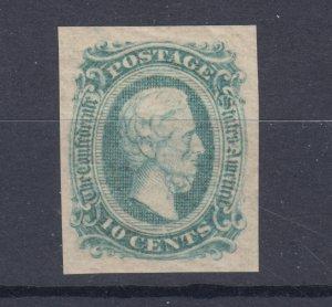 Confederate States Sc 11d, MNH. 1863-64 10c green Jefferson Davis XF CSA Cert