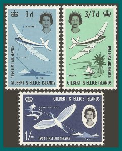 Gilbert & Ellice Islands 1964 Air Service, MLH  #79-81,SG82-SG84
