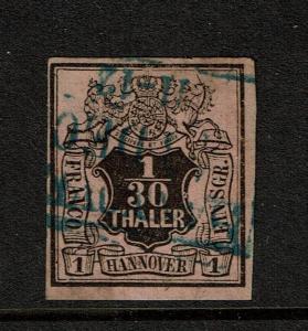 Hanover SC# 3, Used, very tiny top shallow margin thin (Noted Mi# 3a) - S3720