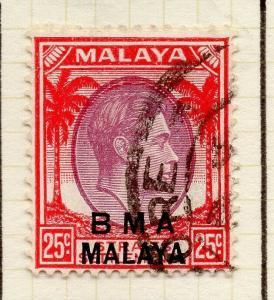 Malaya Straights Settlements 1945 Early Shade of Used 25c. BMA Optd 307959