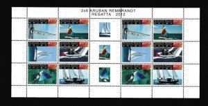 Aruba  #400  MNH  2012  sheet  with 2 blocks of 6  Regatta  sailboats