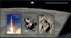 HERRICKSTAMP NEW ISSUES SWEDEN Sc.# 2844 50th Anniv. Moon Landing Sheetlet