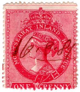 (I.B) Montserrat Revenue : Duty Stamp 1d (bright red)