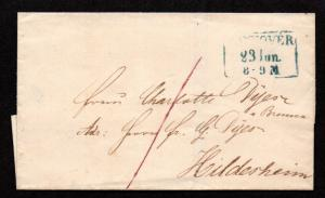$German Stampless Cover, Hannover (w. time)
