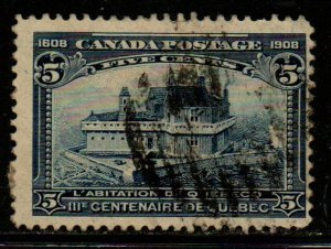 Canada Sc 99 1908 5c dark blue Champlain's Home stamp used