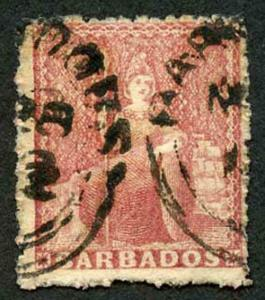 Barbados SG49 (4d) Dull Rose-red wmk Small Star Rough Perf 14 to 16 (bit grubby)