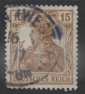 GERMANY. -Scott 99- Definitives -1916 - FU- Single  15pf  Yellow Brown Stamp3