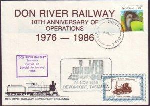 DON RIVER RAILWAY (TASMANIA) - 1986 10TH ANNIVERSARY COVER CINDERELLA (RU5272)