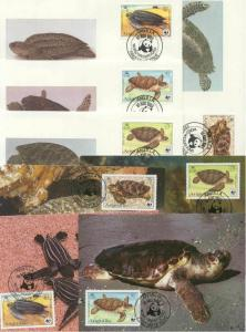 Anguilla 8 FDC/cards WWF/Turtles 1983