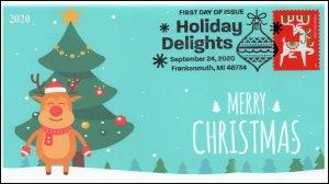 20-224, SC 5529, 2020, Holiday Delights, FDC, Pictorial Postmark, Reindeer,