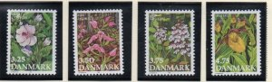 Denmark  Scott  920-23 1990 Endangered Plants stamp set mint NH