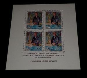 DAHOMEY #C58a, 1967, KONRAD ADENAUER, SOUVENIR SHEET, MNH, NICE! LQQK