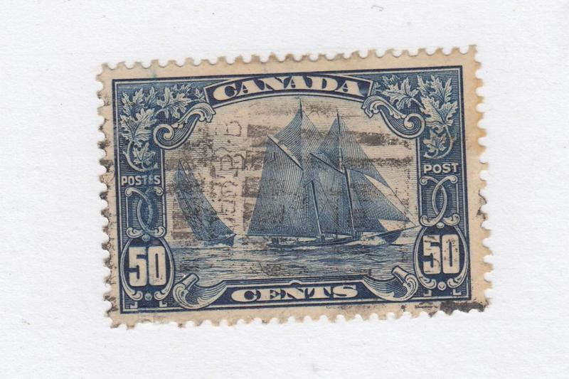 CANADA ) # 158 VF-ROLLER CANCELLED 50cts BLUENOSE CAT VALUE $100+