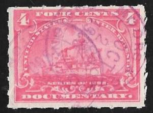R166 4 cents Documentary Battleship Stamps used F-VF