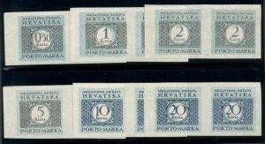 CROATIA #J20-5, Complete set, IMPERF PAIRS, og, NH, VF