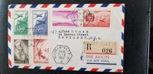 1950 Monaco to New York Multi Franking Airmail Registered Cover