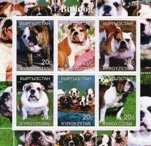 Kyrgyzstan 2000  DOGS BULLDOG Sheetlet (6) MNH