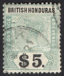 Br Honduras 1899 $5 Green & Black Scott 57 SG 65 VFU Cat $500