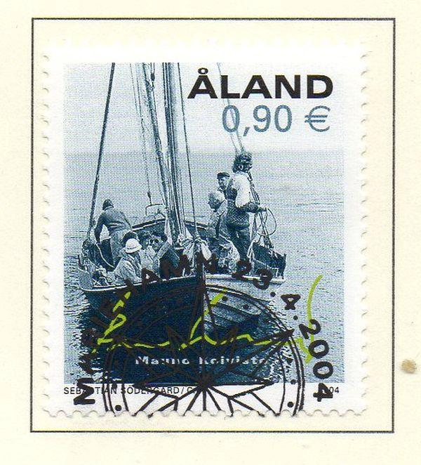 Aland Finland Sc 223 2004 Finnish President on boat  stamp used