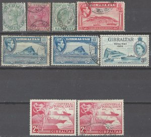 COLLECTION LOT # 2375 GIBRALTAR 9 STAMPS 1886+ CLEARANCE