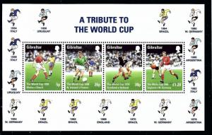 Gibraltar 749a MNH 1998 World Cup Soccer S/S