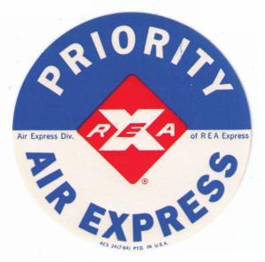 UNITED STATES REA AIR EXPRESS 1964 VINTAGE PRIORITY LABEL, STICKER CAT #USR-115