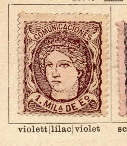 Spain 1870 Early Issue Fine Mint Hinged 1m. NW-16560