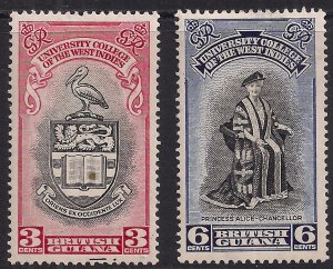 British Guiana 1951 KGV1 Set University College MM SG 328 - 329 ( D1285 )