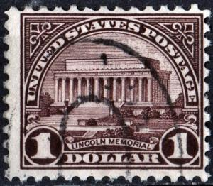 SC#571 $1.00 Lincoln Memorial Single (1923) Used