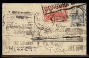 Spain USA 1936 German Sea Post Spanish Civil War France MISSENT Cover 91020